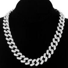"""Miami Cuban 18"""" Necklace 925 Silver Simulated Diamond Box Lock 15mm Men"""