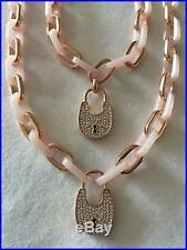 Michael Kors Necklace MKJ4896791 MK Rosegold Heritage Padlock Acrylic Chain Agsb