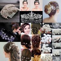 Women Pearl Flower Crystal Gems Crown Wedding Bridal Hair Pins Clips Jewelry HOT