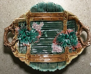 D679~ Beautiful Antique Majolica Bowled Plate With Leaves and Flowers Handles