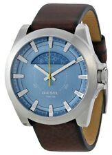 Diesel Arges Luminous Blue Dial Silver Tone Brown Leather Men's Watch DZ1661 SD9
