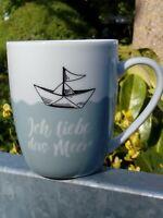 "Kaffeebecher ""Ich liebe das Meer"" Porzellan in Geschenkbox 10 cm hoch"