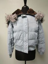 American Eagle Down Jacket Coat Faux Fur Hood Full Zip/Snap Women's Size M Euc