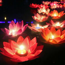 Romantic Floating Lotus Candle Night Light Lamp Tea Light Valentine's Day Gift