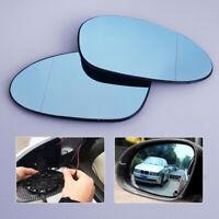 Pair Blue Heated Wing Mirror Glass For BMW E90 E91 E92 E93 E87 E88 04-09 E85 Z4