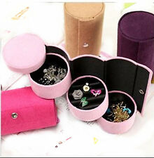 Travel Necklace Earrings Rings Jewelry Display Box Carring Case Velvet-PINK