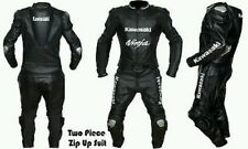 Kawasaki Ninja Black Motorcycle Suit Leather Men Jacket Pants Two Piece XS - 6XL