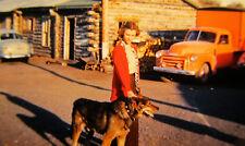 Vintage photo slide Girl with dog 1960s Original 35mm color