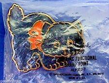 BUY1&GET1@50%~Hallmark PIN Halloween MIP CAT BLACK w Orange Bow Vtg Brooch