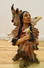 Indien Avec Aigle Western personnages 35x23 Indiens personnage Grand Western Deco Statue