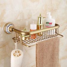 Shower Caddy Square Shower Basket Brass Bathroom Shower Organizer Hanger Gold