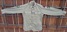 Vintage US Army Shirt-Long Sleeve-3 Patches-Tan-Korean War Era-Button Up-Pockets