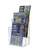 """4"""" Tri Fold 2 Tier Brochure Literature Rack Card Holder Stand Clear Acrylic"""