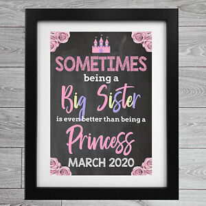 Pregnancy Reveal New Baby Big Sister Chalkboard Announcement Poster A4 Print