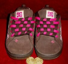 Rare New Dc Shoes Girls Kids Court Graffik Skater Shoes Pink & Brown Plaid Sz 4K