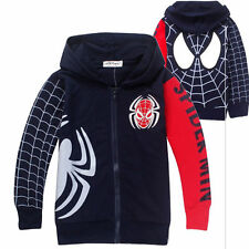 Kinder Jungen Mantel Kleidung Winterjacke mit Kapuze Marvel Spiderman Kostüm Top