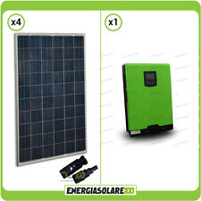 Kit Casa Solare Inverter Edison 2400W 3000VA 24V PWM + Pannelli Solari 1000W HG