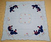 Tischdecke 80 x 80 cm, blau kariert, mit Entenmotiv, Baumwolle