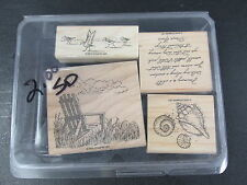 Stampin Up Along the Shore wood block rubber craft stamp set 2005 beach