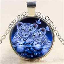 Cute Baby White Tiger Cabochon Glass Tibet Silver Chain Pendant Necklace