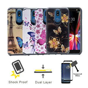 For Straight Talk LG Solo L423DL / LG K40 Double Layer Butterfly Cover Case