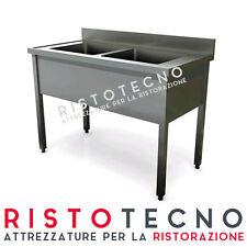 Lavatoio lavello lavabo a 2 vasche cm. 130x60x85h. Acciaio inox