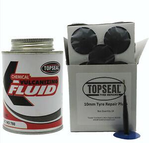 24 Pack Of 10mm Combi Tyre Puncture Repair Plugs & 250ml Tin Of Repair Glue