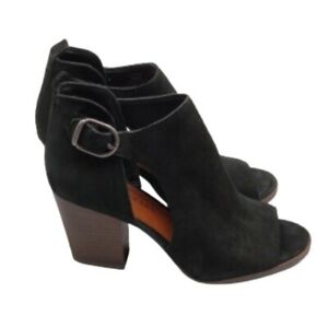 Lucky Brand Oona Women's 8 Black Soft Leather  Peep Toe Cute Ankle Bootie Shoes