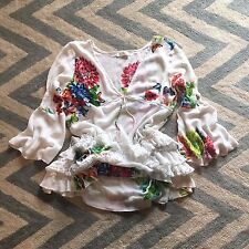 M New Anthropologie Women's Floral Garden Ruffle Lace Tunic Blouse Top MEDIUM