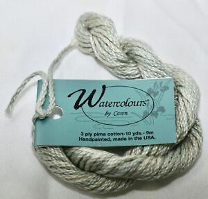 Caron Watercolour 3 ply pima cotton 10 yds handpainted 125 Sage green