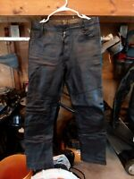 Awesome Berman's Mens Black Leather motorcycle Pants size 31