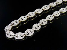 "10K Yellow Gold Real Diamond Puff Mariner Gucci 8MM 30"" Chain Necklace 16 4/5 CT"