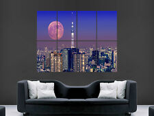 FULL MOON OVER TOKYO SKYTREE WALL POSTER ART PICTURE PRINT LARGE