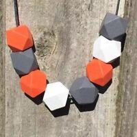 Handmade Orange Grey White Geometric Wooden Bead Statement Necklace. NEW