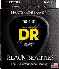DR BKB-50 BLACK BEAUTIES COATED BASS STRINGS, HEAVY GAUGE 4's - 50-110