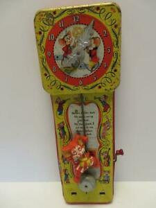 Vintage 1953 Tin Dickory Dock Musical Clock by Mattel Not Working Still Nice