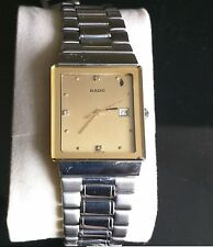 Rado Quatz Gold Tone Mens Diamond Watch - Very Rare Piece