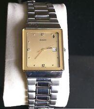 Rado Quatz Gold Tone Mens Diamond Watch - Very Rare Piece