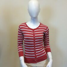 Atmosphere Ladies Coral Red White Thick Striped Fine Knit Cardigan UK Size 8