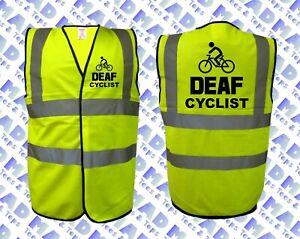 ** DEAF CYCLIST **  HI / HIGH VIZ VEST WAIST COAT - CYCLING YELLOW SAFETY VEST