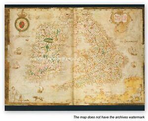 HISTORIC HARDBACK MAP ELIZABETHAN RENAISSANCE 1564 AD ENGLAND WALES & IRELAND