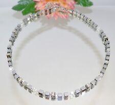 edel elegant Kette Würfelkette 4mm Hämatit silber glanz Kristall Strass 053i