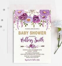 Boho Purple Gold Baby Shower INVITATION Floral Bohemian Dreamcatcher Invite Girl