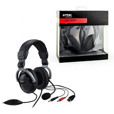 Gaming Headphones + Microphone OVER EAR Brand New Boxed TDK  Black ST600 SKYPE