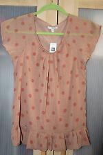 GAP Women's Polka Dot Print Cap Sleeve Chiffon Blouse Sz XS (NWT)