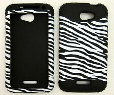 Silicone Hybrid Case For HTC One X Zebra Black Skin