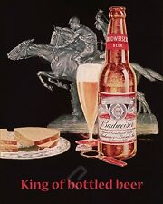 BUDWEISER, King of Bottled Beer. Vintage Advertising Poster Reproduction
