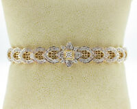 "Estate 2.50cts Genuine Diamonds Solid 14k Two-Tone Gold 7"" Bracelet"
