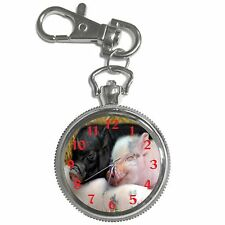 Happy Baby Pigs Silver Key Ring Chain Pocket Watch