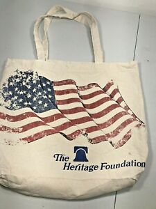 "Heritage Foundation USA Flag Canvas Reusable  Market Shopping Book Tote 15"" 12"""